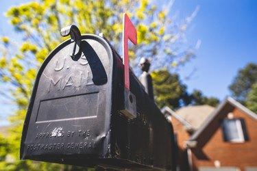 black mailbox red flag usps