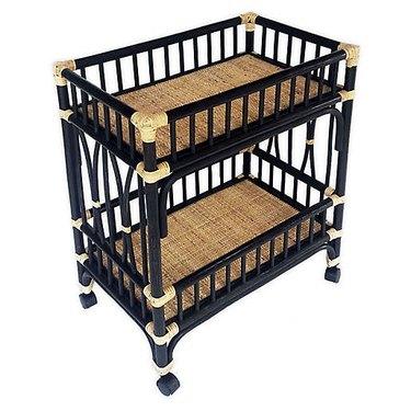 two-toned rattan bar cart