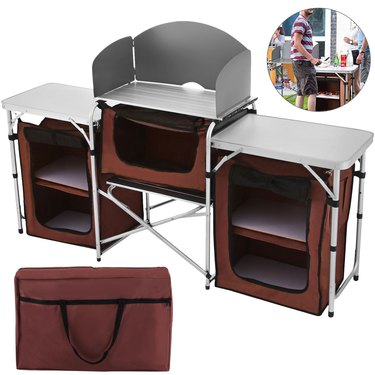 VEVOR Camping Kitchen Table with Windscreen and Storage Organiser