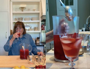 two screenshots of a video, left image shows Ina Garten drinking a red drink with a pitcher in front of her, right image shows a spoon going into a pitcher