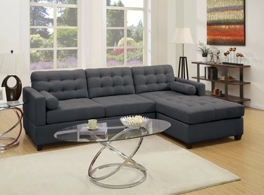 Grey tufted sectional