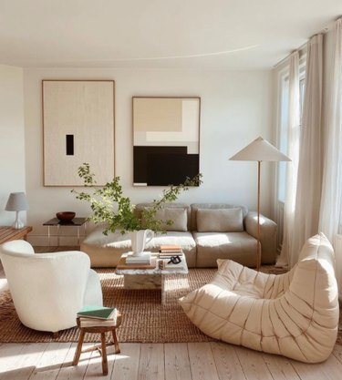 Scandinavian style living room in neutral colors
