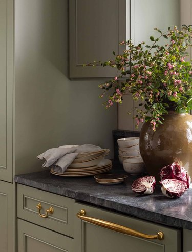shaker kitchen cabinets in olive green kitchen from Heidi Caillier