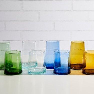 handblown glasses in various colors