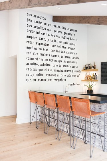 kitchen accent wall with written phrase