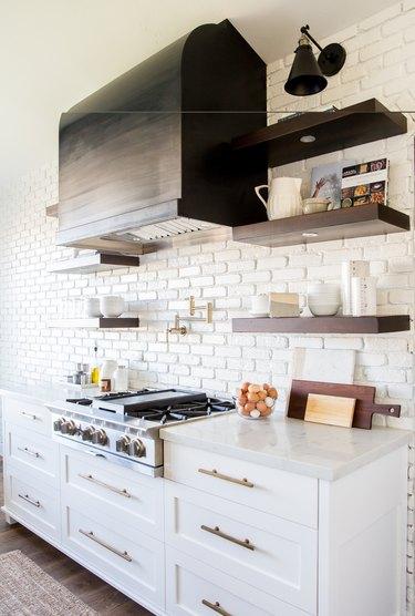 white brick kitchen backsplash
