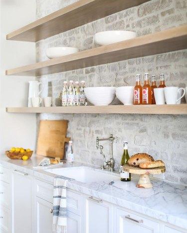 gray brick kitchen backsplash