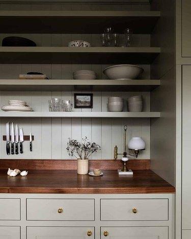 beigey green kitchen