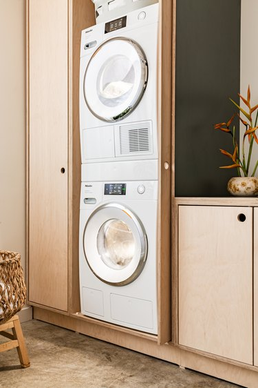 washer and dryer stacked on one another