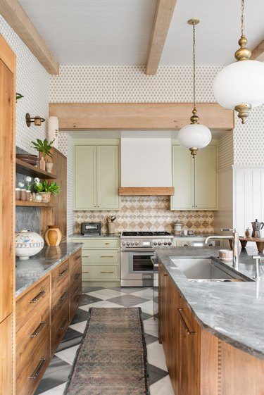 kitchen with yellow green cabinets