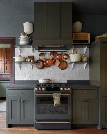 green/black and white kitchen