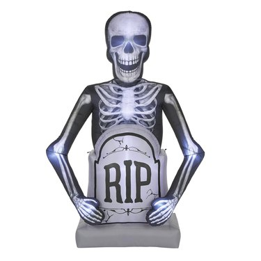 10-foot Photorealistic Skeleton with Tombstone Airblown Halloween Inflatable