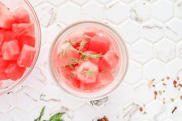 Add watermelon to jars