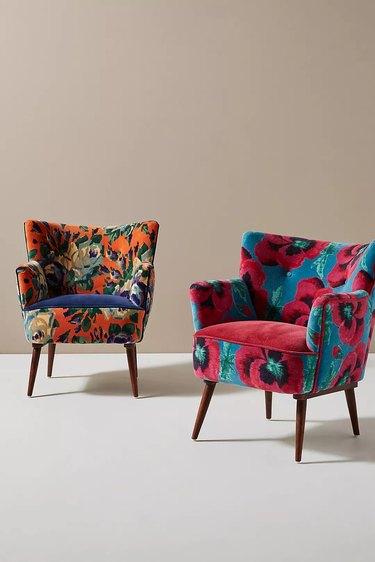 Printed velvet armchairs