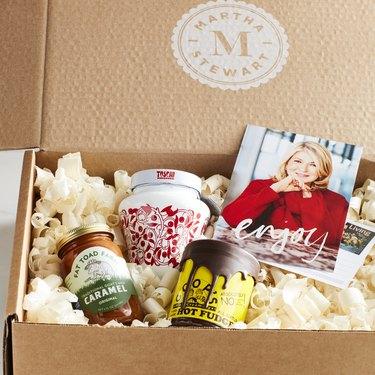 box with sundae ingredients and Martha Stewart book