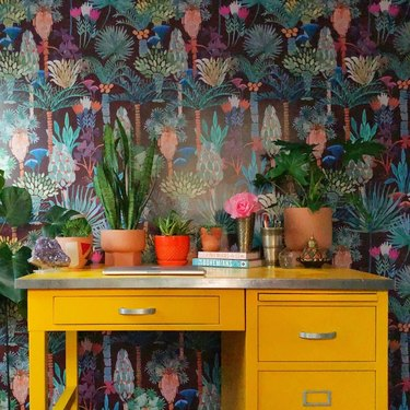 Bold wallpaper with knick knacks