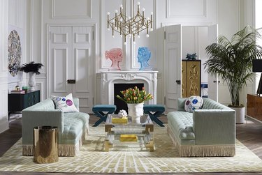 Maximalist living room with fringe couches