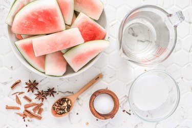 Ingredients for pickled watermelon rind