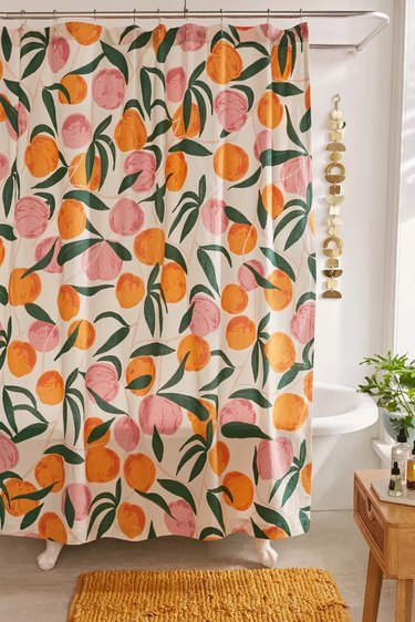 Shower curtain with fruit on it