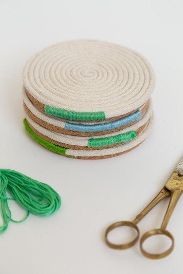 DIY rope coil coasters