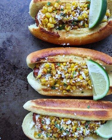 Lemon and Mocha Elote Hot Dog