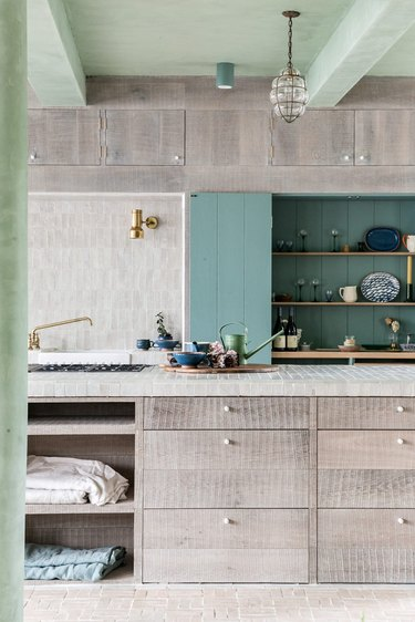 mint and neutral kitchen