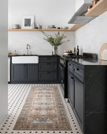 black bead board kitchen cabinets with open shelving
