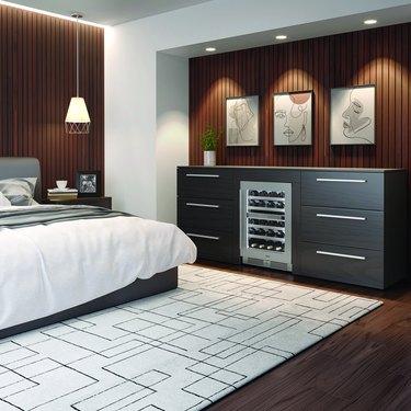 bedroom with mini-fridge