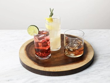 Glasses with colorful beverages