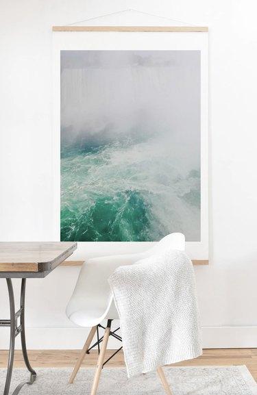 Large ocean print on oak hanger