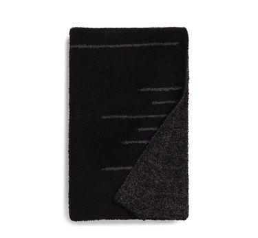 Fuzzy black and grey blanket