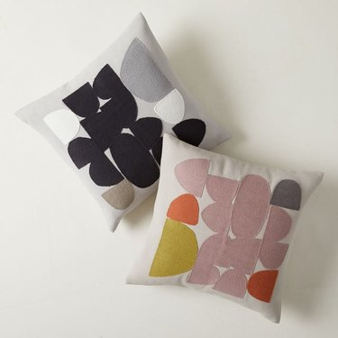 two pillows with geometric patterns