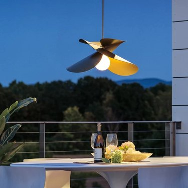 Abstract outdoor pendant light
