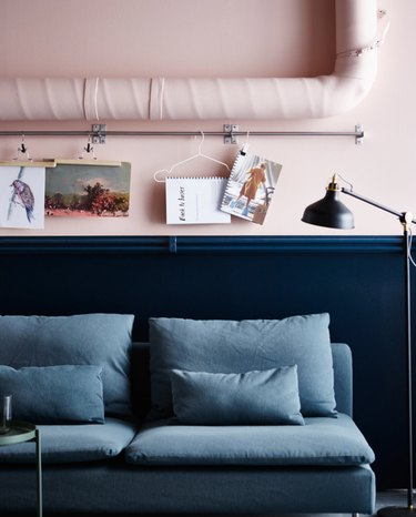 blush pink and navy blue wall