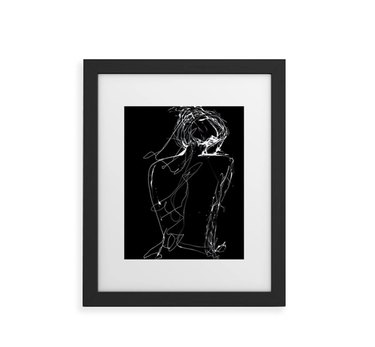 Framed drawing of woman