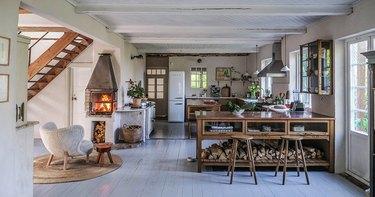 Scandinavian kitchen with copper countertops