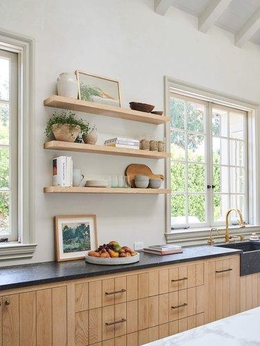 modern farmhouse kitchen with limestone countertops