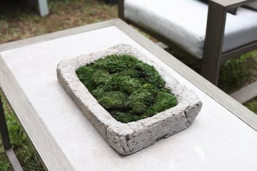 Hypertufa stone moss trough on outdoor coffee table