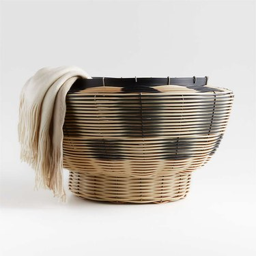 woven basket in natural and black colors