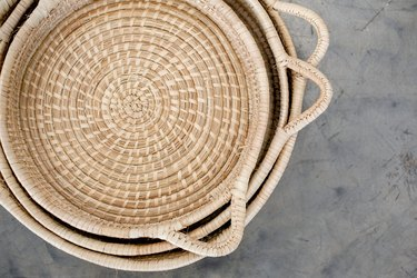 pile of woven trays