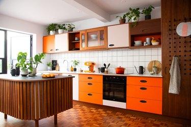 Retro orange and white kitchen