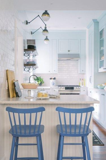 light blue cottage-style kitchen