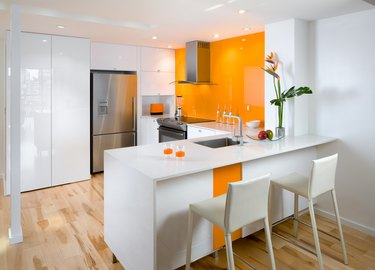 Orange kitchen condo