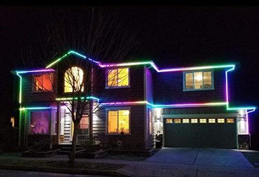 Color chasing lights on house
