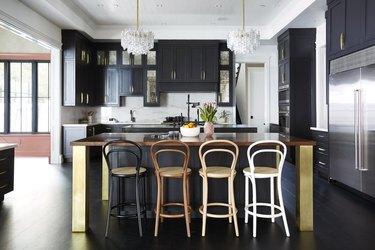 Black neutral color palette kitchen by Black Lacquer Design