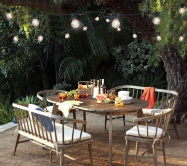 Solar string lights, table, chairs