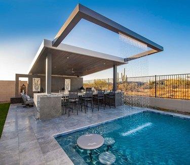 pool with rain curtain