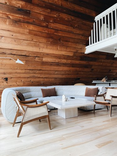 Lilla Norr rentable A-frame in Minnesota with neutral color palette