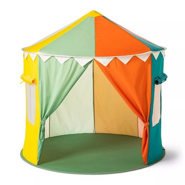multicolored pop up tent
