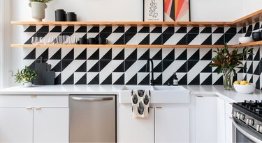 black and white geometric tile backsplash